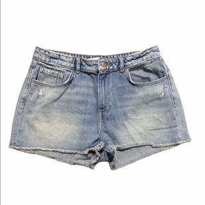 Zara lightly distressed denim shorts
